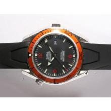 Omega Seamaster Planet Ocean Automatic Black Dial With Orange Bezel-Rubber Strap