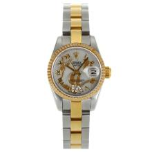 Rolex Datejust Automatic Two Tone Roman Marker Mit White Dial-Blumen Illustration