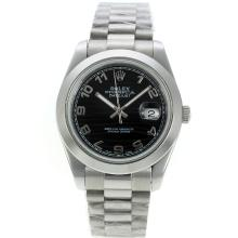Rolex Datejust II Automatic Number Markers Mit Black Waved Dial S / S