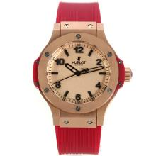 Hublot Big Bang Rotgold Stick / Anzahl Marker Mit Champagner Dial-Red Rubber Strap