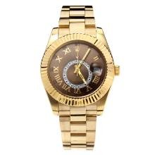 Rolex Sky Dweller Automatic Full Gelbgold Mit Kaffee Dial