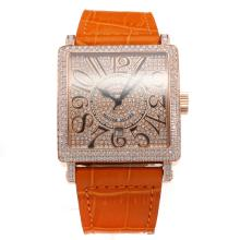 Franck Muller Master Square Rose Gold Case Diamond Bezel and Dial with Orange Leather Strap