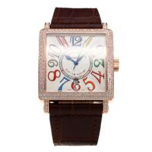 Franck Muller Master Square Rose Gold Case Diamond Bezel with White Dial-Brown Leather Strap