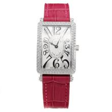 Franck Muller Long Island Diamond Bezel with White Dial-Peachblow Leather Strap