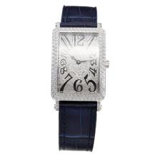 Franck Muller Long Island Diamond Bezel and Dial with Blue Leather Strap