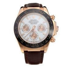 Rolex Daytona II Chronograph Swiss Valjoux 7750 Movement Ceramic Bezel Rose Gold Case with White Dial-Leather Strap