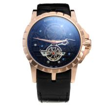 Roger Dubuis Excalibur Tourbillon Automatic Rose Gold Case with Black Dial-Leather Strap