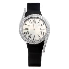 Piaget Limelight Diamond Bezel with Silver Dial-Black Leather Strap