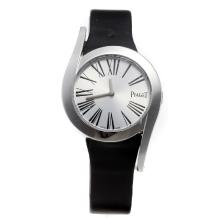Piaget Limelight with Silver Dial-Black Leather Strap