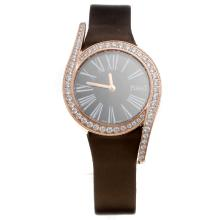 Piaget Limelight Rose Gold Case Diamond Bezel with Black Dial-Brown Leather Strap