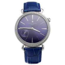 Vacheron Constantin Manual Winding Diamond Bezel with Blue Dial-Leather Strap