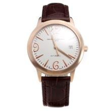 Vacheron Constantin Swiss ETA 2836 Movement Rose Gold Case with White Dial-Leather Strap
