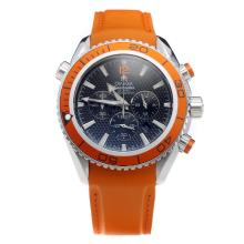 Omega Seamaster Working Chronograph Orange Bezel with Black Dial-Rubber Strap