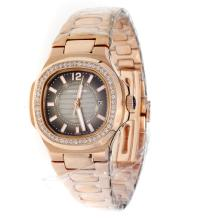 Patek Philippe Nautilus Full Rose Gold Diamond Bezel with Dark Gray Dial-Lady Size