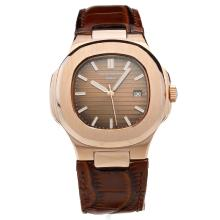 Patek Philippe Nautilus Rose Gold Case with Brown Dial-Leather Strap-2