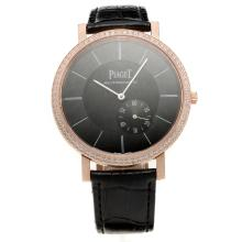 Piaget Altiplano Automatic Rose Gold Case Diamond Bezel with Black Dial-Leather Strap-1