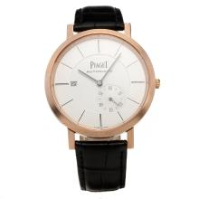 Piaget Altiplano Automatic Rose Gold Case with White Dial-Leather Strap