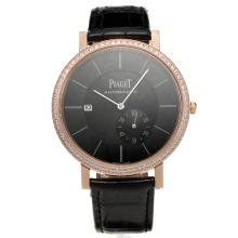 Piaget Altiplano Automatic Rose Gold Case Diamond Bezel with Black Dial-Leather Strap