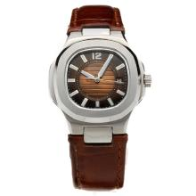 Patek Philippe Nautilus Brown Dial with Leather Strap-Lady Size