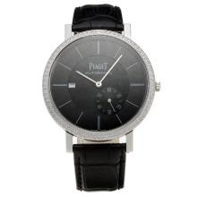 Piaget Altiplano Automatic Diamond Bezel with Black Dial-Leather Strap-1