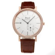 Piaget Altiplano Automatic Rose Gold Case Diamond Bezel with White Dial-Leather Strap-1