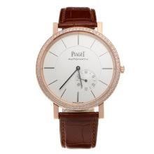 Piaget Altiplano Automatic Rose Gold Case Diamond Bezel with White Dial-Leather Strap