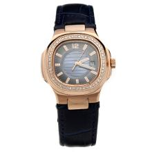 Patek Philippe Nautilus Rose Gold Case Diamond Bezel Blue Dial with Leather Strap-Lady Size