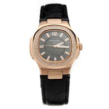 Patek Philippe Nautilus Rose Gold Case Diamond Bezel Black Dial with Leather Strap-Lady Size
