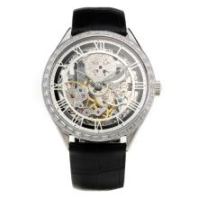 Vacheron Constantin Manual Winding CZ Diamond Bezel with Skeleton Dial-Leather Strap-1