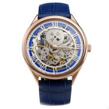 Vacheron Constantin Manual Winding Rose Gold Case with Skeleton Dial-Leather Strap-1
