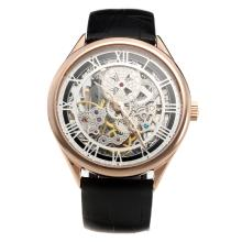 Vacheron Constantin Manual Winding Rose Gold Case with Skeleton Dial-Leather Strap