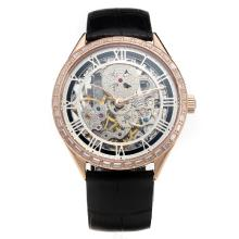 Vacheron Constantin Manual Winding Rose Gold Case CZ Diamond Bezel with Skeleton Dial-Leather Strap