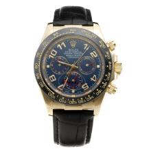 Rolex Daytona Automatic Gold Case Ceramic Bezel with Blue Dial-Leather Strap