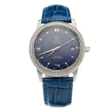 Omega De Ville Diamond Bezel with Blue Dial-Blue Leather Strap-2