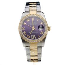 Rolex Datejust Automatic Two Tone Diamond Bezel Roman Markers With Blue Dial-Same Classic as Swiss Version-2