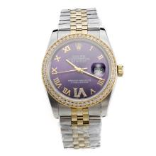 Rolex Datejust Automatic Two Tone Diamond Bezel Roman Markers with Blue Dial-Same Chassis as Swiss Version
