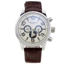 Montblanc Time Walker Automatic With White Dial-Brown Leather Strap