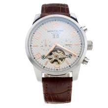Montblanc Time Walker Automatic With White Checkered Dial-Rose Gold Markings