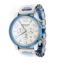 Montblanc Time Walker Working Chronograph Blue Bezel With White Dial