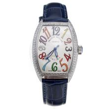 Franck Muller Casablanca Automatic Diamond Bezel with White Dial-Blue Leather Strap-1