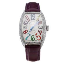 Franck Muller Casablanca Automatic Diamond Bezel with White Dial-Purple Leather Strap-1