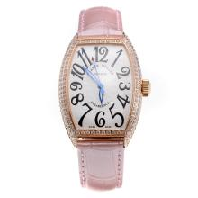 Franck Muller Casablanca Automatic Rose Gold Case Diamond Bezel with White Dial-Pink Leather Strap