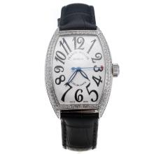 Franck Muller Casablanca Automatic Diamond Bezel with White Dial-Black Leather Strap