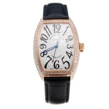 Franck Muller Casablanca Automatic Rose Gold Case Diamond Bezel with White Dial-Black Leather Strap
