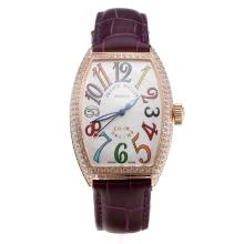 Franck Muller Casablanca Automatic Rose Gold Case Diamond Bezel with White Dial-Purple Leather Strap-1