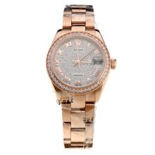 Rolex Datejust Swiss ETA 2836 Movement Full Rose Gold Roman Markers with Diamond Bezel and Dial-Mid Size-1