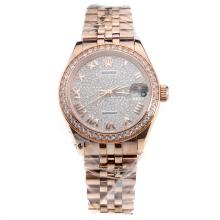 Rolex Datejust Swiss ETA 2836 Movement Full Rose Gold Roman Markers with Diamond Bezel and Dial-Mid Size