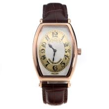 Patek Philippe Gondolo Rose Gold Case White Dial with Leather Strap-Lady Size-2