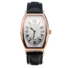 Patek Philippe Gondolo Rose Gold Case White Dial with Leather Strap-Lady Size