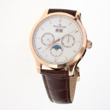 Jaeger-Lecoultre Master Control Automatic Rose Gold Case with White Dial-Leather Strap